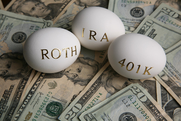 eggs with gold lettering ROTH, IRA, 401K