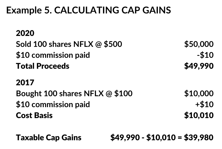 calculating capital gains example